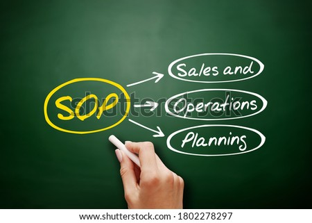 SOP - Sales and Operations Planning acronym, business concept background on blackboard Stock fotó ©