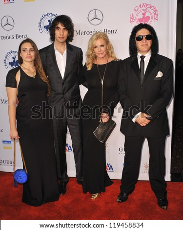 Sophie Tweed-Simmons, Nick Simmons, Shannon Tweed & Gene Simmons at the 26th Carousel of Hope Gala at the Beverly Hilton Hotel. October 20, 2012  Beverly Hills, CA Picture: Paul Smith