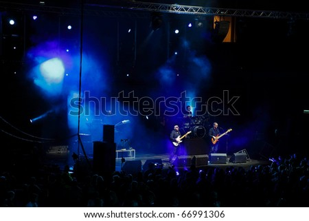 SOPOT, POLAND - DECEMBER 10: The show of Kombi band during Gala Sports in Ergo Arena. December 10, 2010 in Sopot, Poland. - stock photo