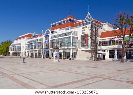 SOPOT, POLAND - MAY 06: Square of the old town with beautiful architecture in Sopot on 6 May 2013. Sopot is major health and tourist resort destination and has the longest wooden pier in Europe.