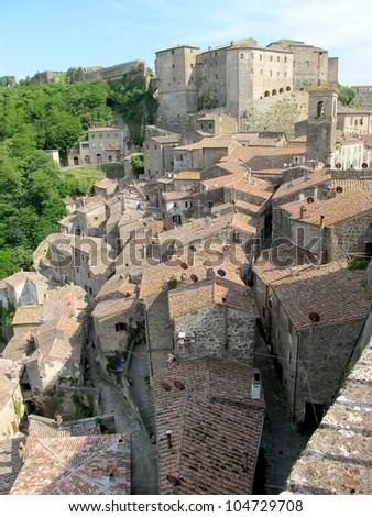 Sorano village in Tuscany, Italy