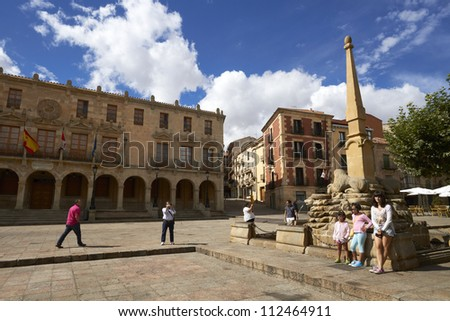 SORIA, SPAIN - AUG. 30: Council of Soria City and main square on August 30, 2012 in Soria, Spain.  In the center of the square, find the Fountain of Lions.