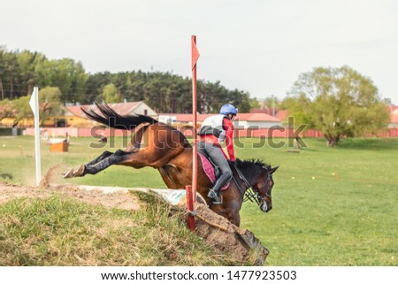 sorrel horse jumping down during eventing competition