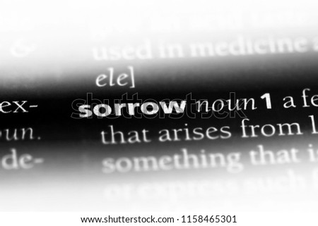 sorrow word in a dictionary. sorrow concept.