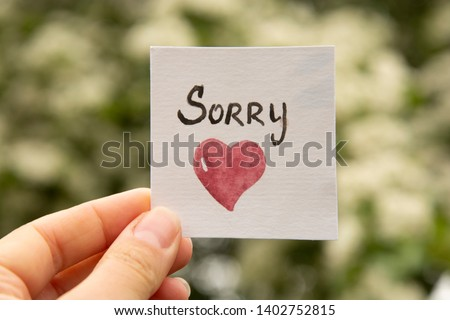 Sorry. Sticker with sorry inscription and red heart. I'm sorry lettering Stock fotó ©