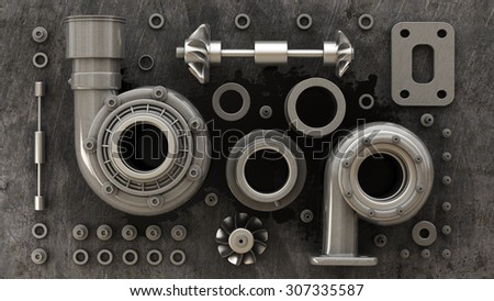 sorted turbocharger of car on grunge background. High resolution 3d #307335587