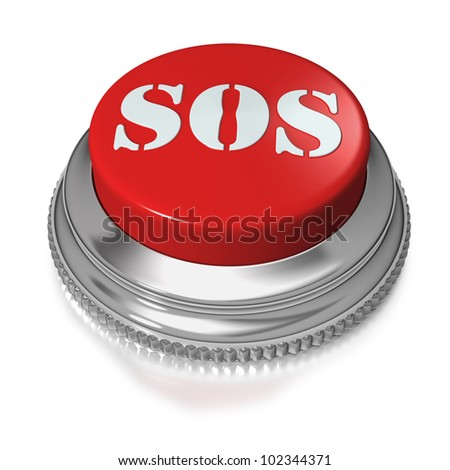 SOS red button switch on white background