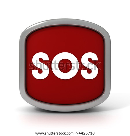 SOS Sign on a White Background. Part of a series