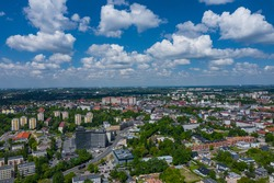 Sosnowiec, Dabrowa Basin. Aerial view of city center of Sosnowiec. Poland.