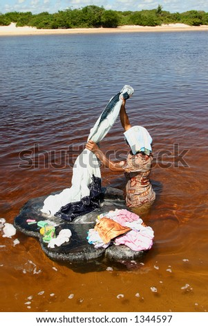 Soth America Brazil North est Maranhao Santo Amaro rio Alegre river bathing washing clothes