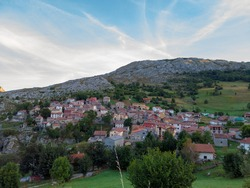 Sotres village in the Europa Peaks (Picos de Europa National Park), Cantabrian Mountains, northern Spain.