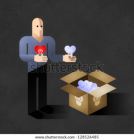 Soul Light To Sale. Cartoon man copying shape of his heart to light bulbs. Comic picture, illustrated allegory of an emotional side of our life