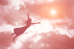 Soul of a woman ascends to heaven. Afterlife, meditation and dream concept