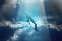 Soul of deceased man taken up into heaven. Afterlife, meditation and dream concept