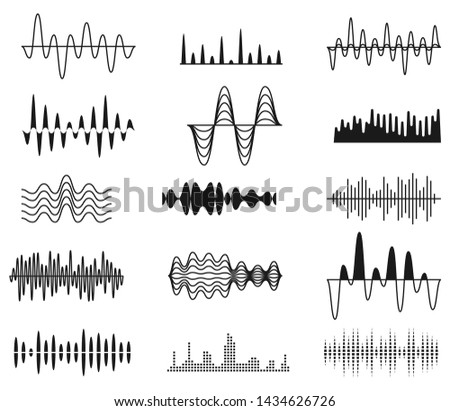 Sound amplitude waves. Radio signal symbols. Audio music equalizer, voice wave set isolated. Voice digital electronic equalizer, frequency soundwave illustration