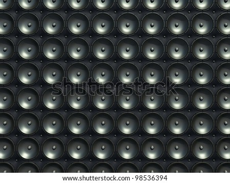 Sound and stereo: black speakers over leather pattern (useful as background)