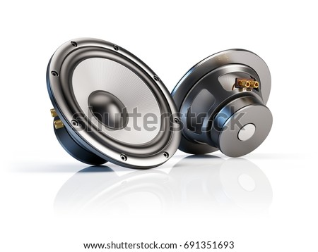 Sound audio loudspeakers isolated on white background - 3d illustration