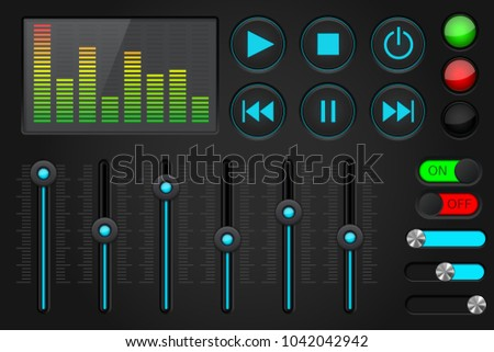 Sound control panel. Equalizer, set of media player buttons, sliders. 3d illustration. Raster version