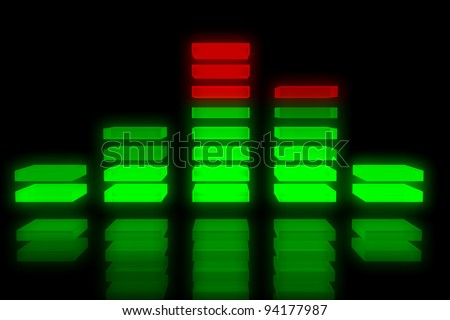 Sound equalizer background with reflection on black background