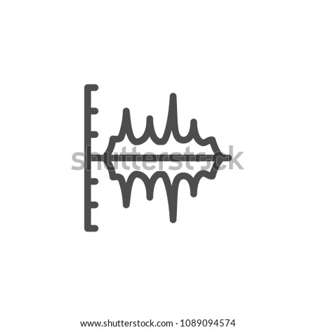 Sound graph line icon isolated on white