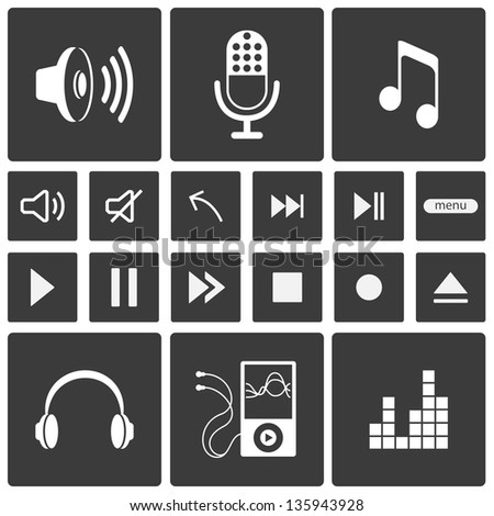 Sound icons. Music icon set. See also vector version