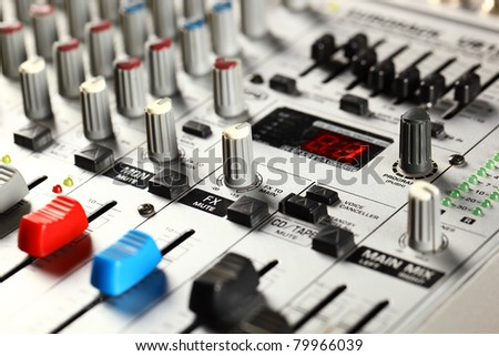 Sound mixer closeup