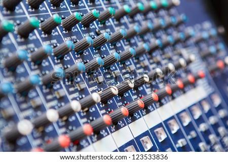Sound mixer control panel, close-up
