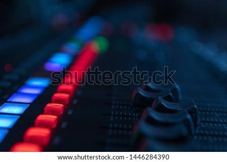 Sound mixer, sound control at a concert, in a club, in a recording studio. #1446284390