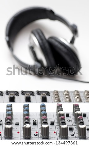 Sound Mixing Mixer and headphone, sound editing, recording equipments.
