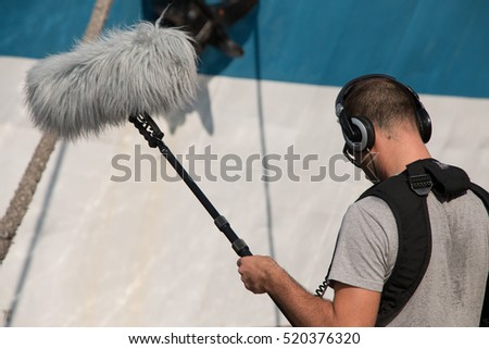 Sound recorder microphone, boom mic and headphones
