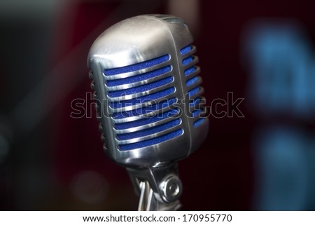 Sound Recording Equipment With Purple Background / Vintage Microphone