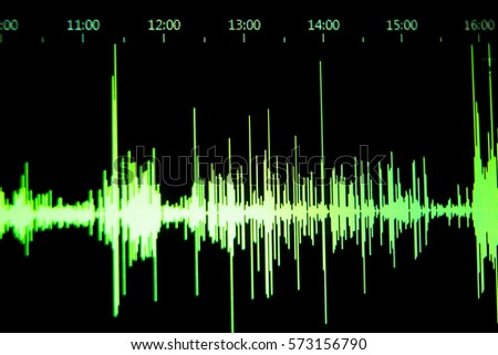 Sound recording studio audio wave on computer screen in professional editing program for voice, vocal, dj deejay musical mixing #573156790