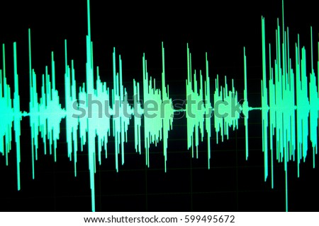 Sound recording studio audio wave on computer screen in professional editing program for voice, vocal, dj deejay musical mixing #599495672