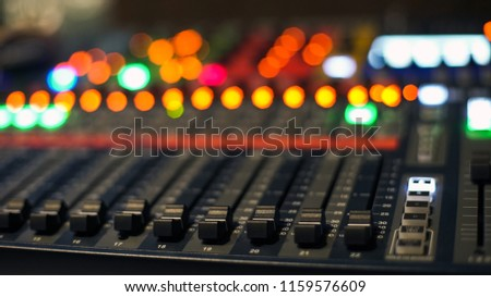 Sound recording studio mixing desk. Music mixer control panel
