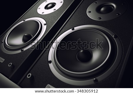 Sound speakers close-up. Audio stereo system. 3d