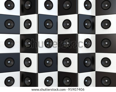 Sound speakers. 3D background