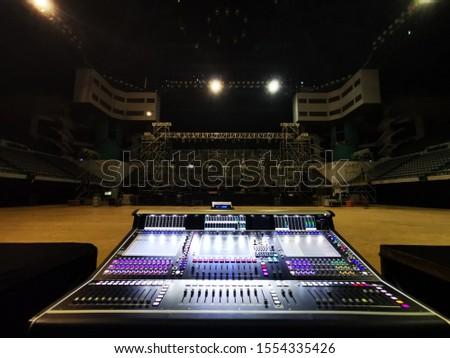 sound system console setup for concert