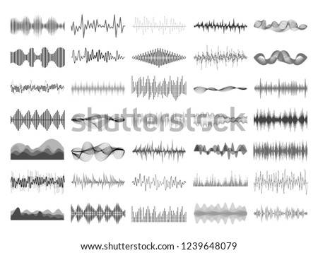 Sound wave and music digital equalizer panel. Soundwave amplitude form radio frequency musical sonic beat pulse and voice visualization vibration waves  isolated icon illustration collection