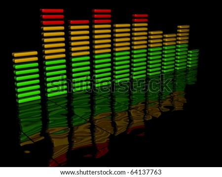 Sound wave over black background.