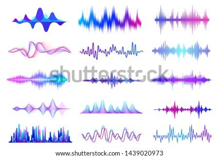 Sound waves. Frequency audio waveform, music wave HUD interface elements, voice graph signal.  audio wave set