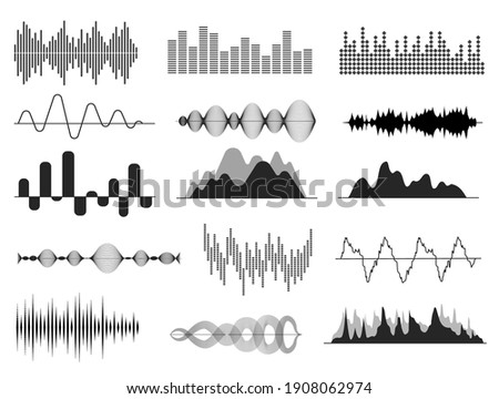Sound waves. Music wave, audio frequency waveform. Radio voice and soundtrack symbols. Soundwave abstract signals isolated set Stock photo ©
