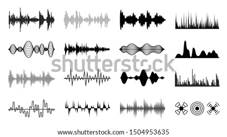 Sound waves set. Black digital radio musical wave. Audio soundtrack shapes. Player pulse amplitude forms isolated set