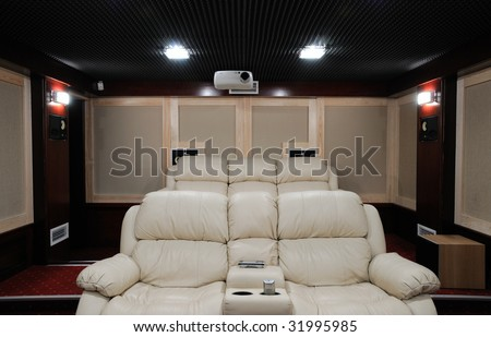 soundproof home theater in home cellar - stock photo