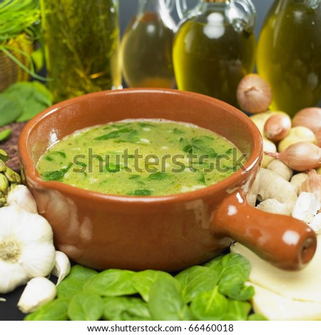 soup (bouillon) with spinach #66460018