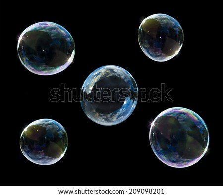 soup bubbles isolated on black background