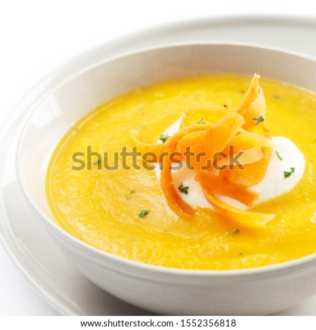 soup, carrot, vegetable, cream soup, food, meal, dish, portion, bowl, vegetarian, vegetarian cuisine, food, healthy, diet, nutrition, healthy eating, white background