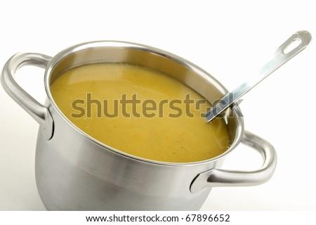 soup, cooking pot and ladle