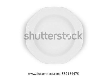 Soup deep white plate with wide shoulders and embellishment on white background from above