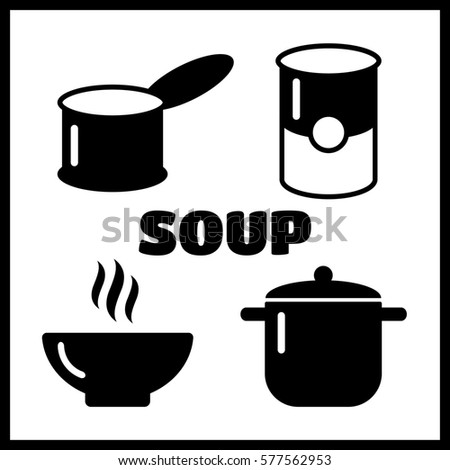 Soup dish isolated icon. Soup icons set