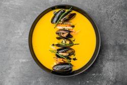 soup food eat orange carrot italian lunch seafood bowl tomato vegetable cream hot mussels gourmet elegant chef pumpkin